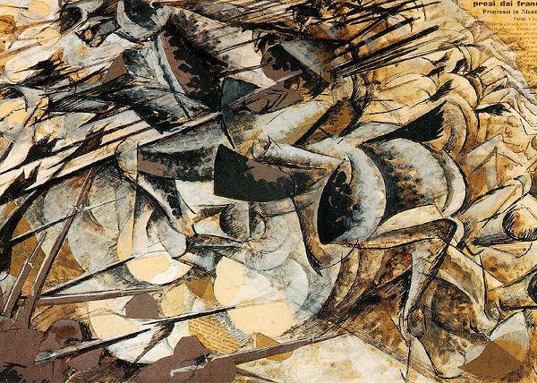 A guerra e o movimento são elementos futuristas da tela Carga dos lanceiros, de Umberto Boccioni.