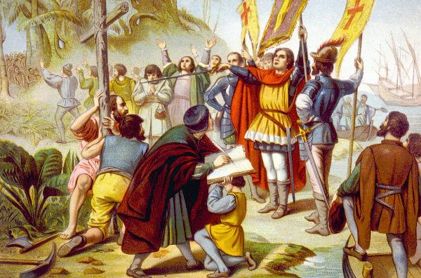 Em 12 de outubro de 1492, as três embarcações lideradas por Colombo chegaram à ilha de Guanahani, atual Bahamas.