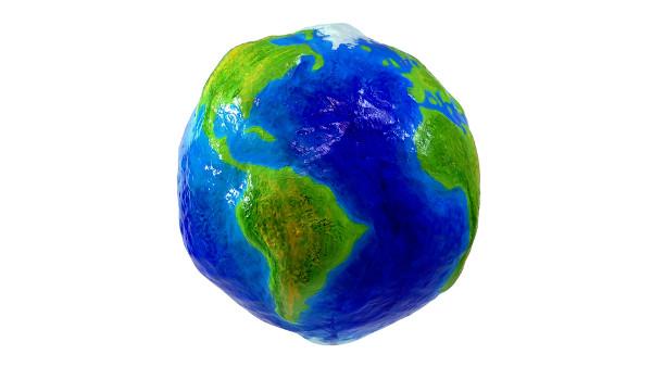 Modelo do formato geoide da Terra.
