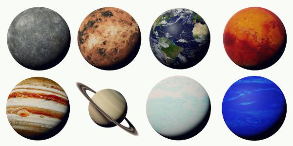 Dos oito planetas, sete tem nomes de deuses romanos.