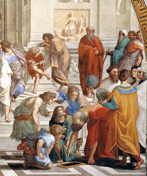 Plotino, o homem de barba comprida e túnica vermelha de pé no fundo central, foi um importante filósofo neoplatonista.