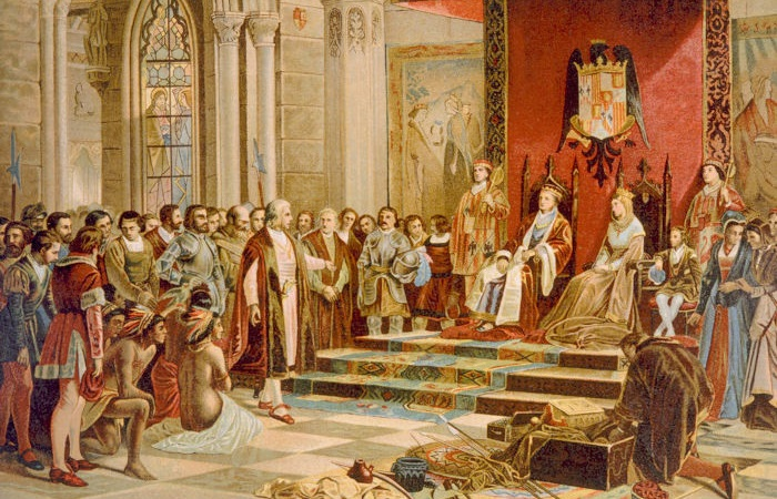 Em 1493, Colombo retornou à Espanha trazendo as notícias do achamento de novas terras e foi recebido com grande homenagem.