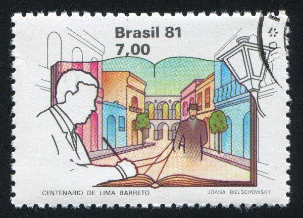 Selo em comemoração ao centenário de Lima Barreto, ocorrido em 1981. [1]