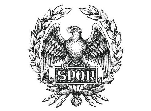 """Símbolo da civilização romana. A sigla significa Senatus Populesque Romanus, termo em latim que é traduzido como """"O Senado e o Povo Romano""""."""