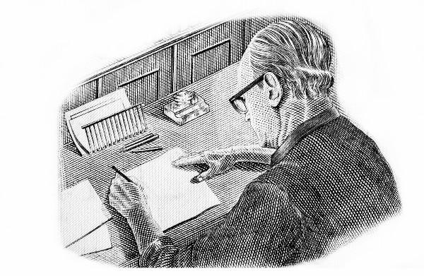 Desenho de Drummond executando seu ofício, originalmente impresso nas cédulas de Cruzados Novos, papel-moeda corrente no Brasil em 1989.