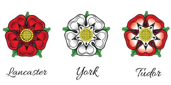 1ª flor, Lancaster; 2ª, York; 3ª, Tudor