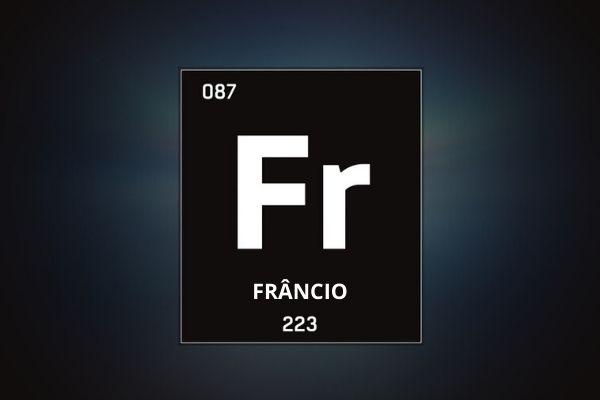 Representação do elemento frâncio conforme encontramos na tabela periódica, com informação de massa e número atômico.