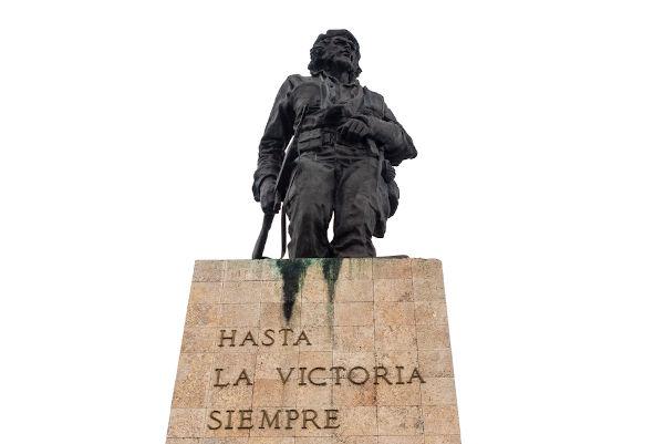 """""""Hasta la victoria, siempre"""" (Até a vitória, sempre) é uma das frases mais conhecidas de Che. Os restos mortais dele estão depositados em Cuba.[3]"""