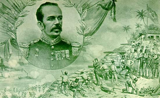 Ilustração do Marechal Floriano Peixoto, segundo presidente da república brasileira, e à direita, da Revolta da Armada, uma dentre as várias insurreições da oligarquia republicana.
