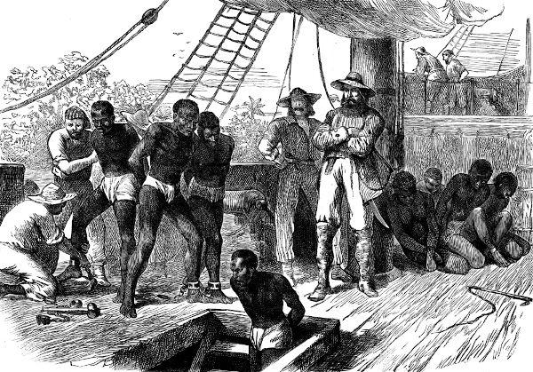 O tráfico negreiro trazia forçadamente africanos para serem escravizados no Brasil.
