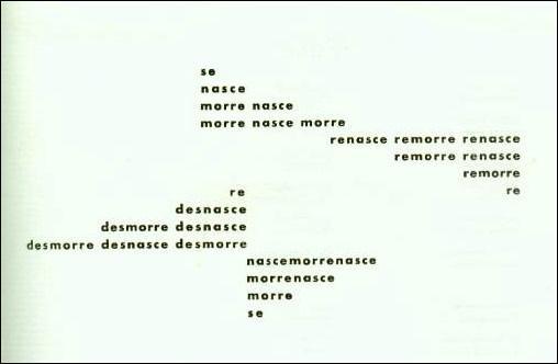 """Poema """"nascemorre"""", Haroldo de Campos (1958)."""
