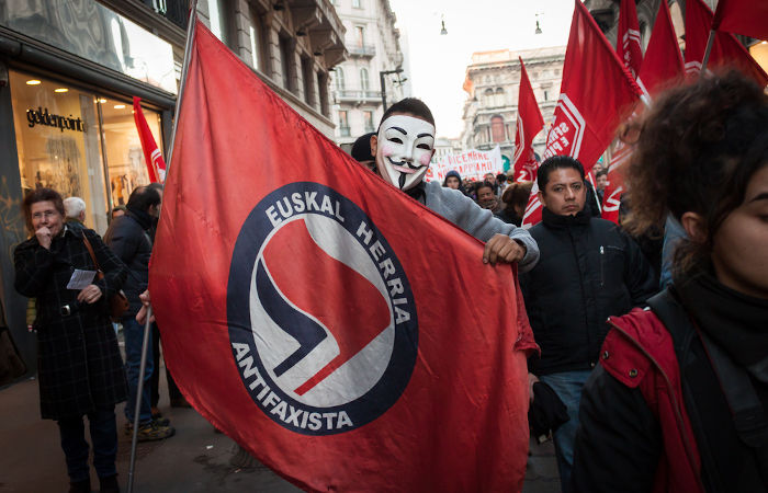 O antifascismo é uma forma de ação que movimentos políticos adotam para combater o fascismo e a extrema-direita.[1]