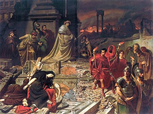 O imperador Nero observa Roma após o incêndio. Ele culpou os cristãos pelo ato. [2]