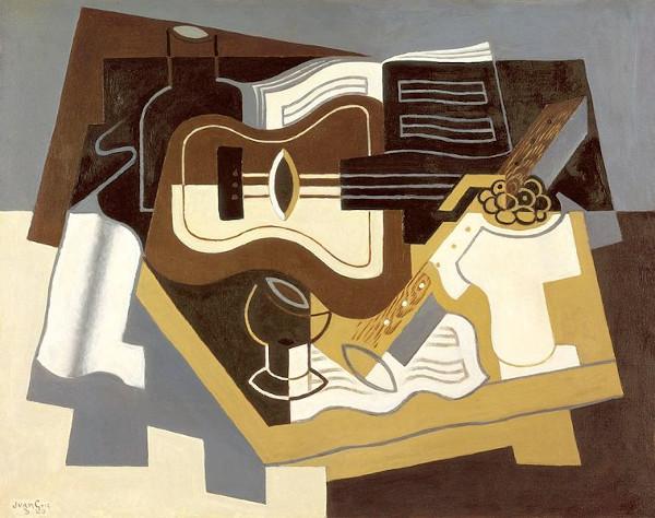 """""""Violão e clarinete"""" (1920), pintura cubista de Juan Gris."""