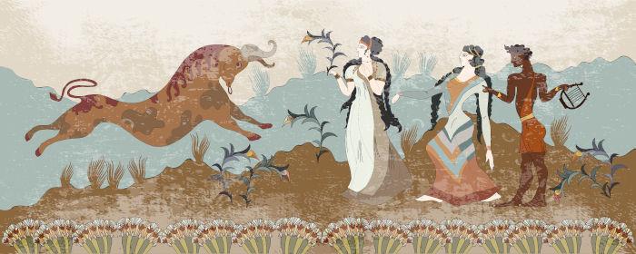 Os afrescos são uma das representações artísticas mais conhecidas dos cretenses.