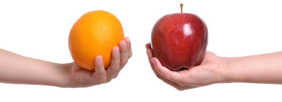 A comparação é feita entre dois ou mais elementos.