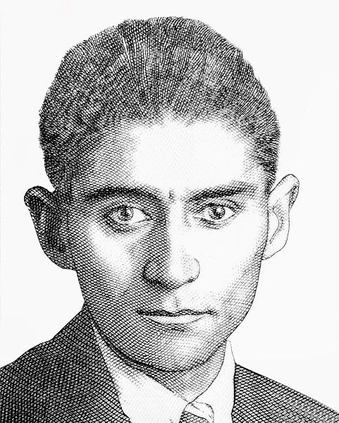 Desenho retratando Franz Kafka, originalmente presente em notas de 50 coroas da República Tcheca.