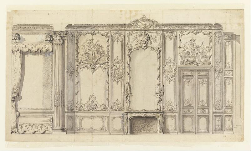 Elevação da parede do quarto do príncipe de Rohan, Hôtel de Soubise, Paris — desenho (1736) do arquiteto francês Germain Boffrand.