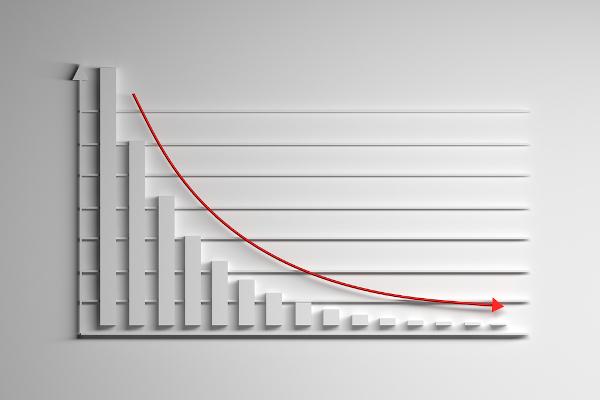 Gráfico de uma função exponencial decrescente.