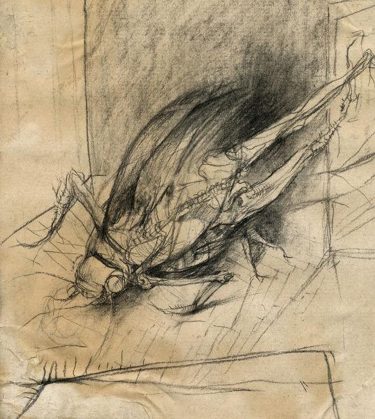 Ilustração inspirada em A Metamorfose, representando Gregor Samsa transfigurado em um inseto ao despertar.