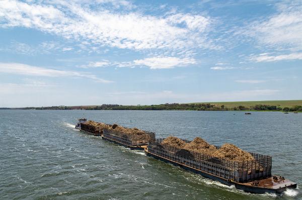 Bagaço decana sendo transportado pelo rio Tietê. O estado de São Paulo é o maior produtor de cana do país.