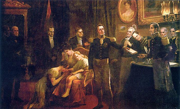 Em 7 de abril de 1831, d. Pedro I abdicou do trono brasileiro em favor de seu filho, Pedro de Alcântara.[1]