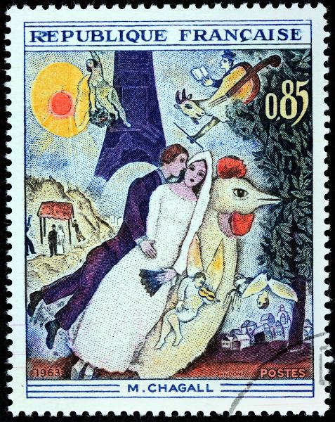 Selo francês com a reprodução de uma famosa obra de Marc Chagall.[2]
