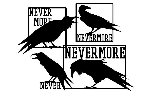 """""""Nevermore"""" (""""nunca mais"""") é a conhecida resposta do corvo, personagem do poema mais famoso de Edgar Allan Poe."""