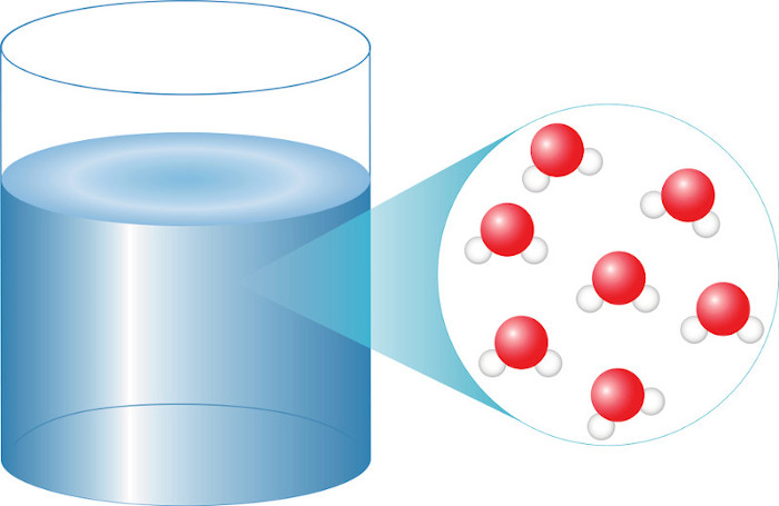 Representação da molécula de água (H2O)