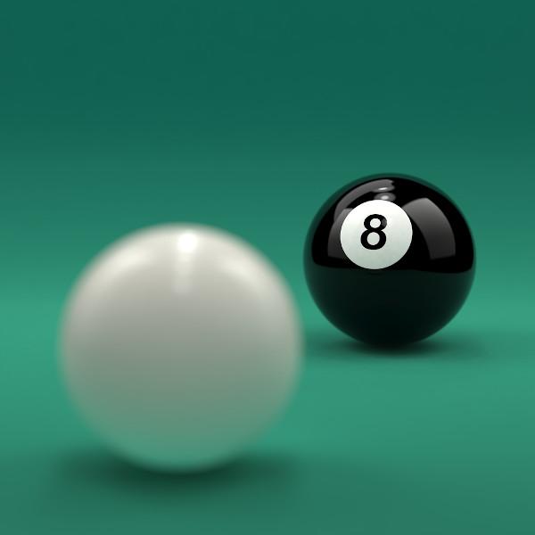Bola de bilhar, referência do modelo atômico de Dalton.