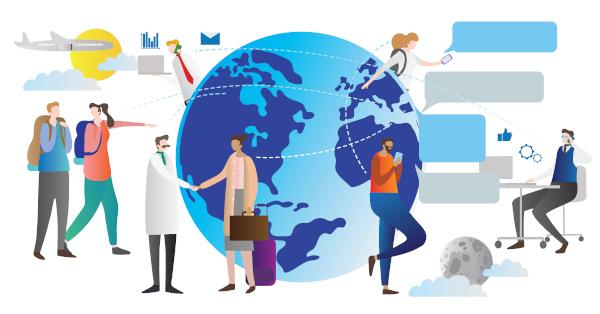 A comunicação entre os funcionários de vários países é um ponto positivo das transnacionais.