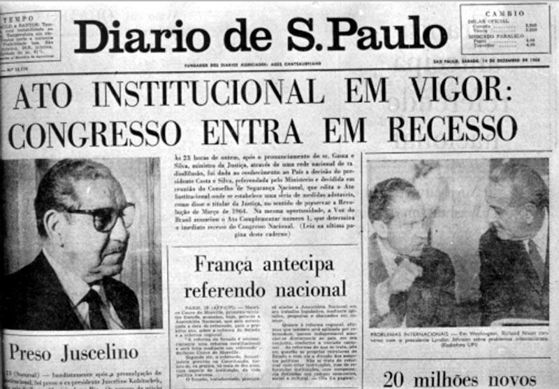 """Primeira página do jornal """"Diário de São Paulo"""" noticiando a publicação do AI-5. Uma das medidas era a prisão de opositores, como o ex-presidente JK. [1]"""