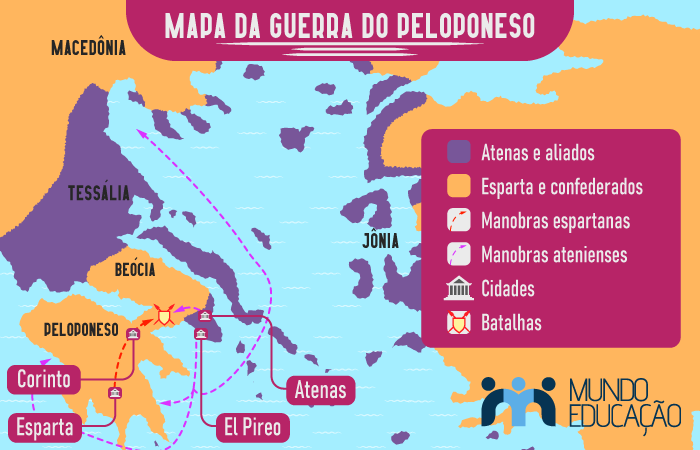 Mapa da Guerra do Peloponeso.