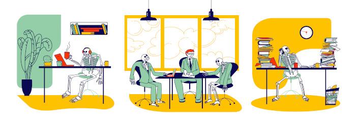 """Em linguagem figurada, a expressão """"morrer de trabalhar"""" expressa a ideia de trabalhar muito."""