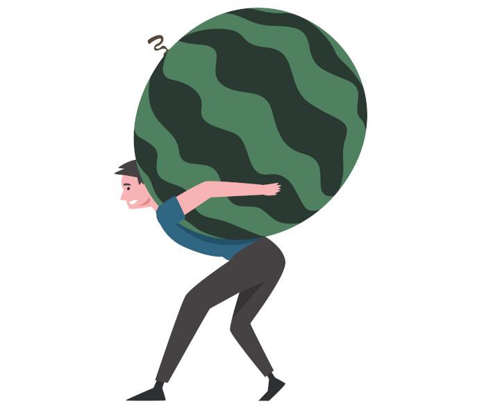 Afirmar que a melancia não é uma fruta pequena traz a ideia de que ela é uma fruta grande.