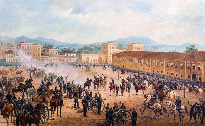 Proclamação da república, em 15 de novembro de 1889. Militares liderados pelo Marechal Deodoro  depuseram d. Pedro II, encerrando o Segundo Reinado.