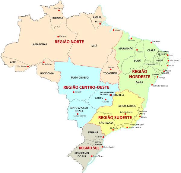 Regionalização do Brasil: divisão administrativa e territorial