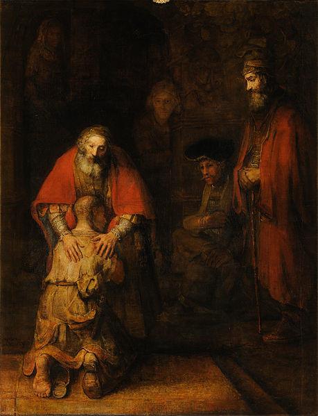 """""""O retorno do filho pródigo"""", pintura de Rembrandt (1606-1669)."""