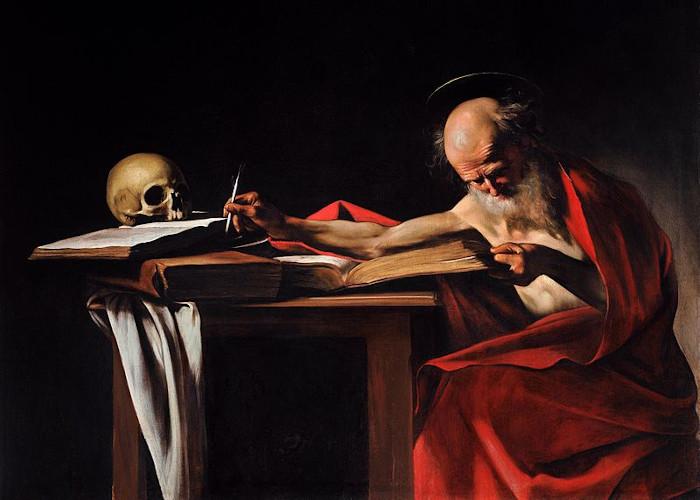 """""""São Jerônimo"""", obra de Caravaggio."""