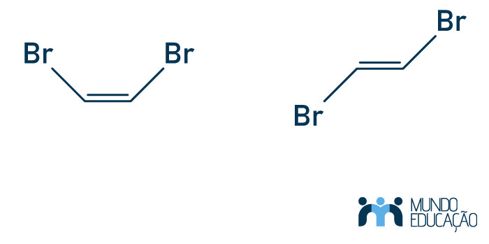 Na imagem, há o cis-dibromoeteno  à direita e o trans-dibromoeteno à esquerda.
