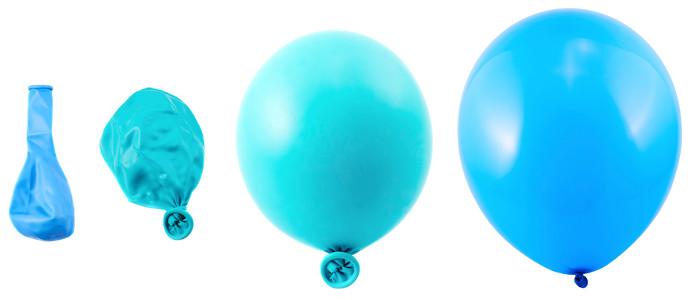 Imagem representando a diferença de volume nos balões com ar e sem.