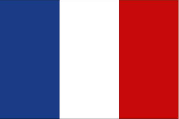 """Bandeira da França, conhecida também, em francês, como """"bleu, blanc, rouge"""" ou """"azul, branca, vermelha""""."""