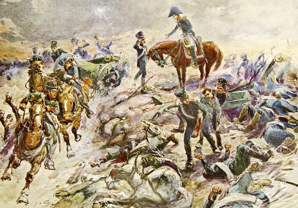 Ilustração de A.P. Apsit representando a Batalha de Borodino, um dos fatos históricos retratados em Guerra e paz.