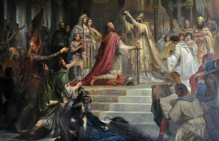 Carlos Magno, rei do Império Carolíngio nos séculos VIII e IX, foi coroado pelo papa Leão III.[1]