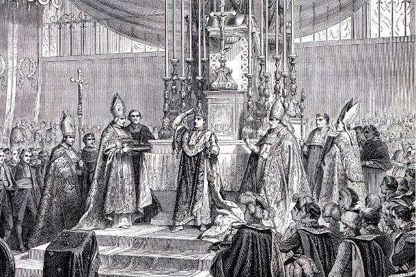 A coroação de Napoleão Bonaparte aconteceu em Paris, em dezembro de 1804, e foi parte do projeto de poder do militar francês.