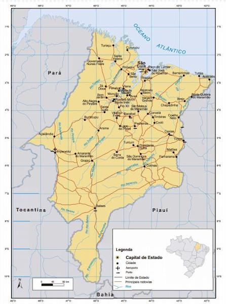 Mapa do estado do Maranhão. Fonte: IBGE.