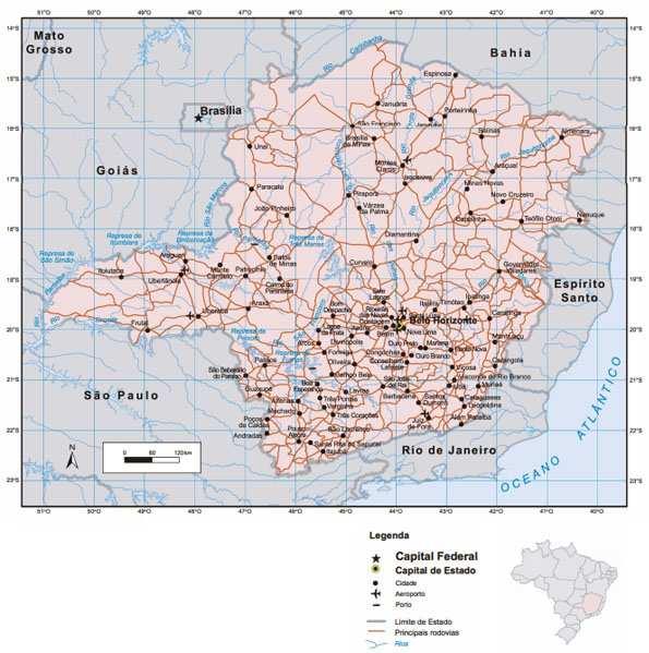 Mapa de Minas Gerais e sua localização no território nacional. Fonte: IBGE.