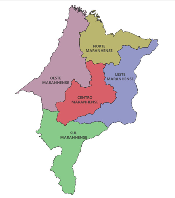 Mesorregiões maranhenses, de acordo com o IBGE.