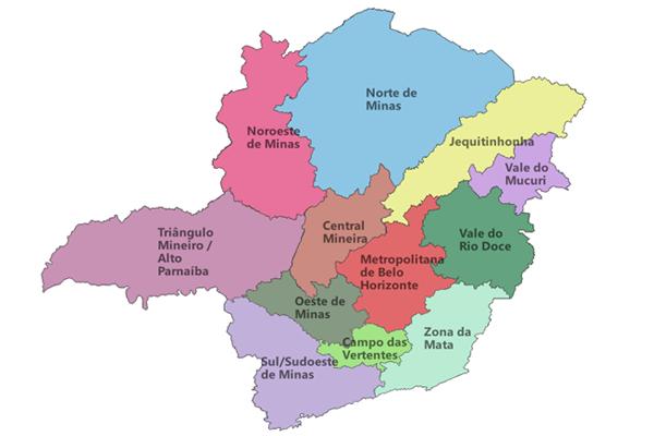 Mesorregiões mineiras de acordo com o IBGE.