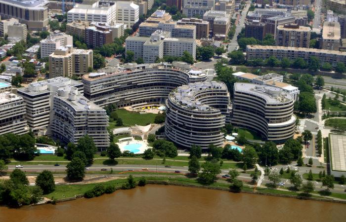 O Complexo Watergate abrigou o escândalo que resultou na renúncia de Nixon, em 1974.